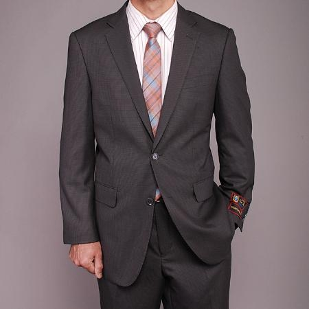 SKU#ER3322 Mens Gray Houndstooth 2-button Suit $139