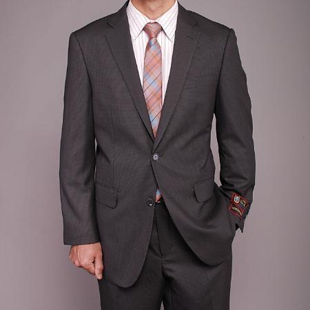 SKU#ER3322 Mens Gray Houndstooth 2-button Suit