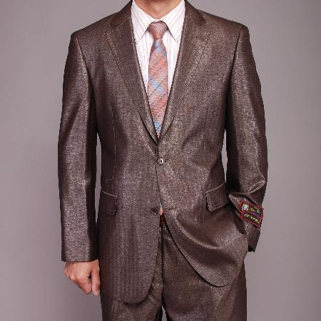 SKU#KL9456 Mens Gray Metallic Herringbone 2-button Suit $149