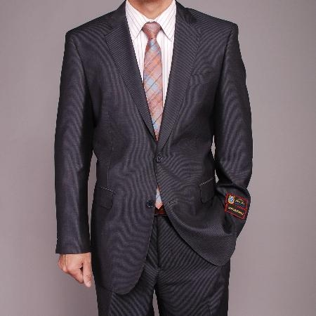 SKU#TR2323 Mens Gray Micro-Stripe ~ Pinstripe 2-button cheap discounted Suit