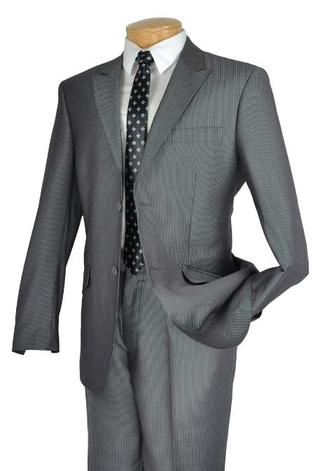 Mens Gray Single Breasted 2 Button Peak Lapel Pointed
