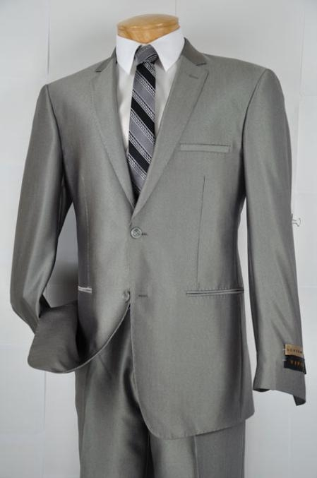 SKU#HJ8923 Mens Gray Single Breasted 2 Button Slim Fit Suit $139