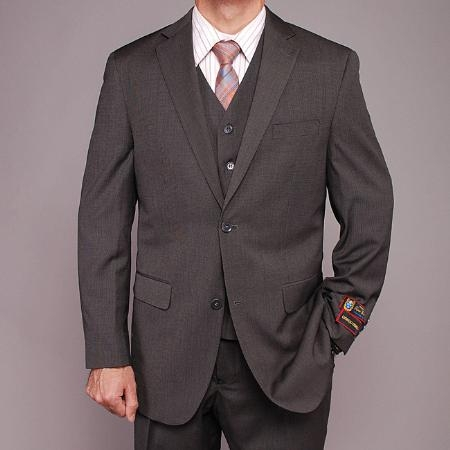 SKU#JK9994 Mens Gray Teakweave 2-button Vested Suit $139