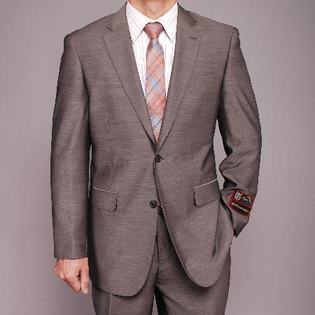 SKU#HF5885 Mens Gray Textured 2-button Suit $139