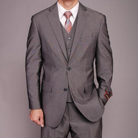 SKU#RS6565 Mens Grey Birdseye Three-piece three piece suit