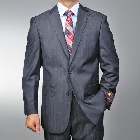 SKU#WA1456 Mens Grey Herringbone Tweed 2-button Suit