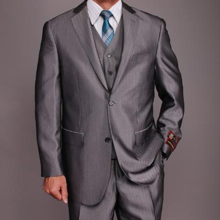 SKU#KL6543 Mens Grey Herringbone Tweed 2-button Vested Suit