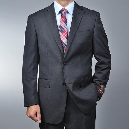 SKU#ER7744 Men's 2 Button Grey Nailhead Pattern Modern Suit