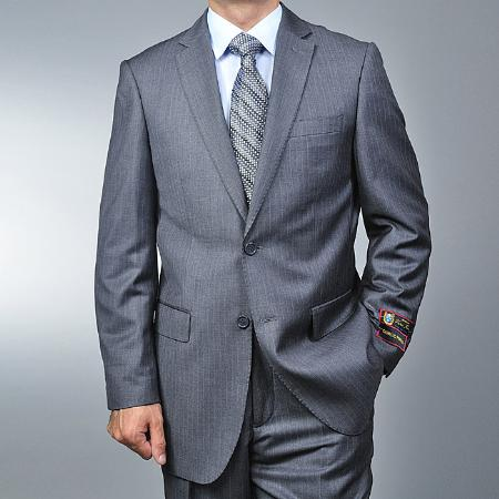 SKU#JK3699 Mens Grey Pinstripe 2-button Suit $149