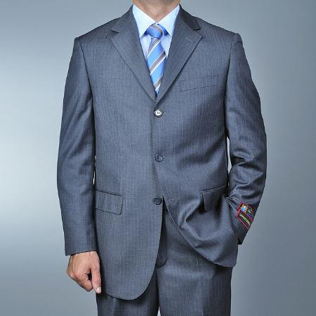 SKU#FV8794 Mens Grey Pinstripe 3-button Suit $139