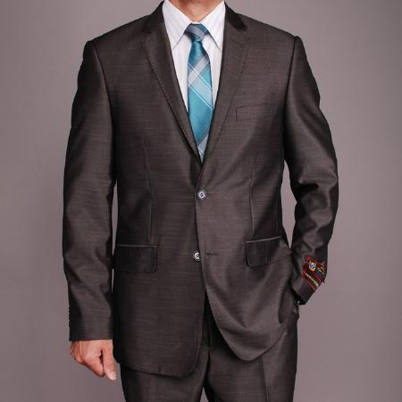 SKU#WE4560 Mens Grey Sharkskin 2-button Slim-fit Suit $149