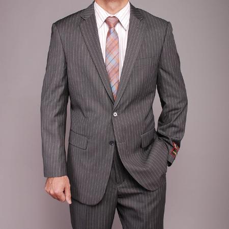 SKU#BN7411 Mens Grey Stripe ~ Pinstripe 2-button Suit