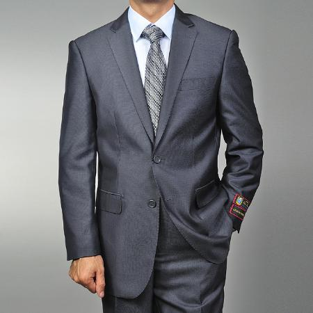 SKU#GR4562 Mens Grey Teakweave 2-button Suit