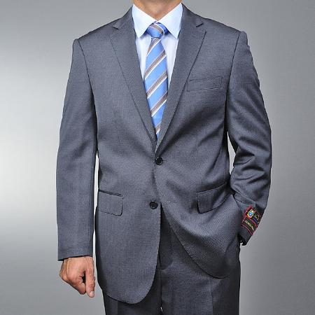 SKU#TE5963 Mens Grey Teakweave 2-button Suit