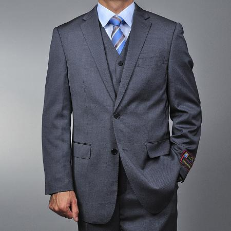 SKU#RS7523 Mens Grey Teakweave 2-button Vested three piece suit