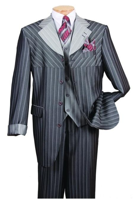 SKU#AR650 Mens High Fashion Gray 3-Piece Suit $139