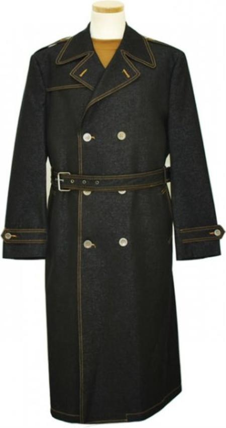 MensUSA.com Mens Iridescent Denim Long Trench Coat Black(Exchange only policy) at Sears.com