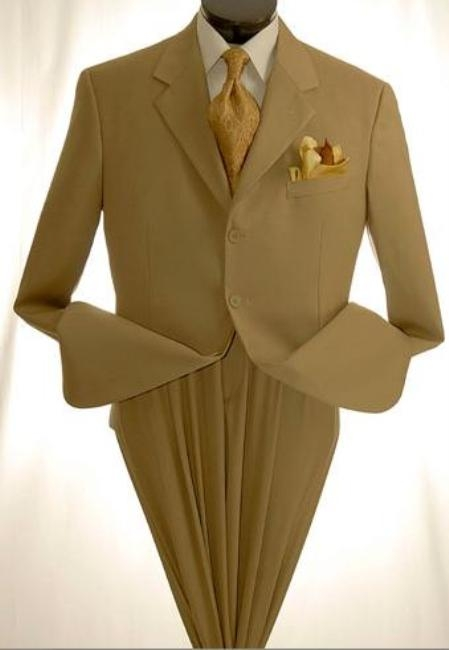 SKU#MUC73 Mens Khaki~Tan ~ Beige Dress lightweight and comfortable cheap discounted Suit $99