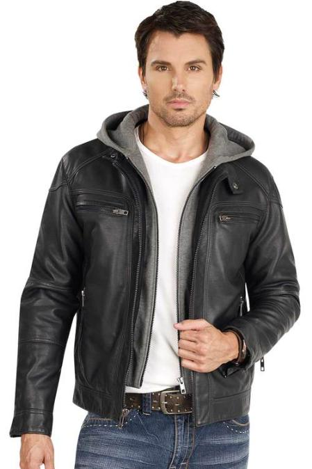 SKU#DR1586 Mens Leather Jacket Black $199