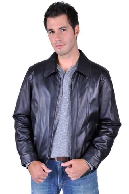 SKU#DS5222 Mens Leather Jacket Black $199