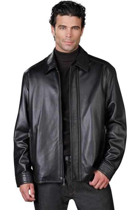 Mens Leather Jacket Black GM5897