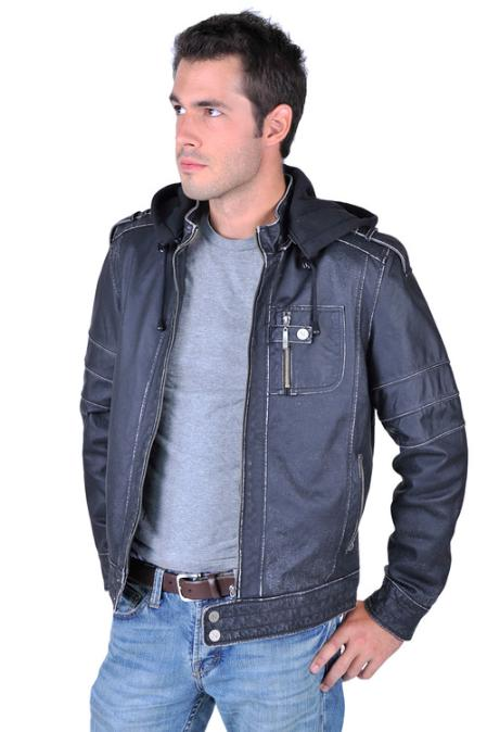 SKU#VI3699 Mens Leather Jacket Black $199