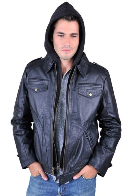 SKU#VA6998 Mens Leather Jacket Black $199