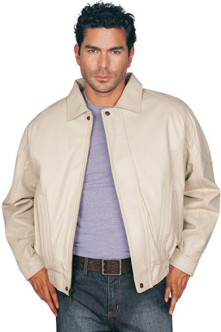 SKU#AS9632 Mens Leather Jacket Bone $159