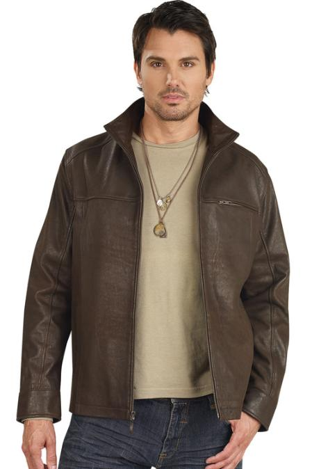 SKU#LI1855 Mens Leather Jacket Brown $159