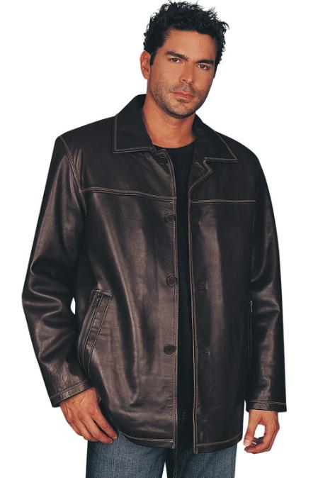 SKU#PL2558 Mens Leather Jacket Brown $950
