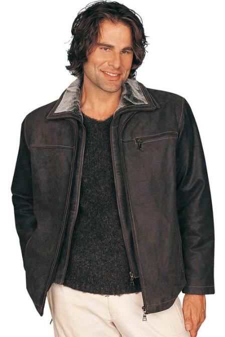 SKU#RV2558 Mens Leather Jacket Dark Brown $199