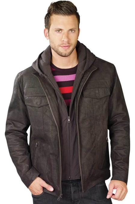 SKU#YK0159 Mens Leather Jacket Dark Brown $199