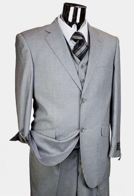 SKU#TX2378 Mens Light Grey 3pc 2 Button Italian Designer Suit Light Grey $189