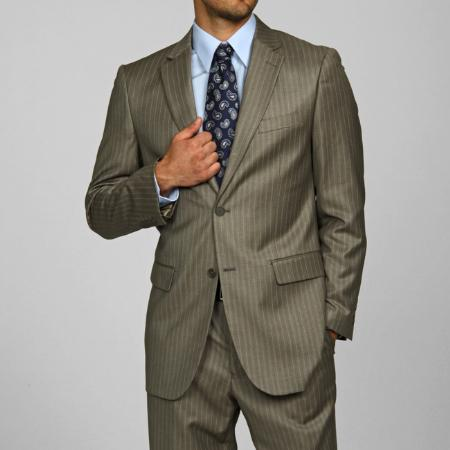 SKU#AS9444 Mens Light Olive Pinstripe 2-button Suit $139