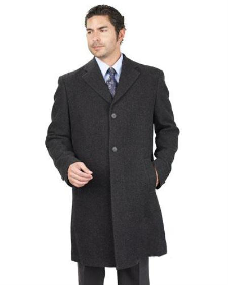 SKU#UH7292 Mens Long Jacket With 2 Side Pocket PolyRayon Blend Unfinished Hem Charcoal