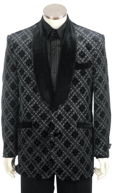 SKU#KL8303 Mens Shawl Velvet Collar Dinner Jacket + Pants (Suit)  Black $225