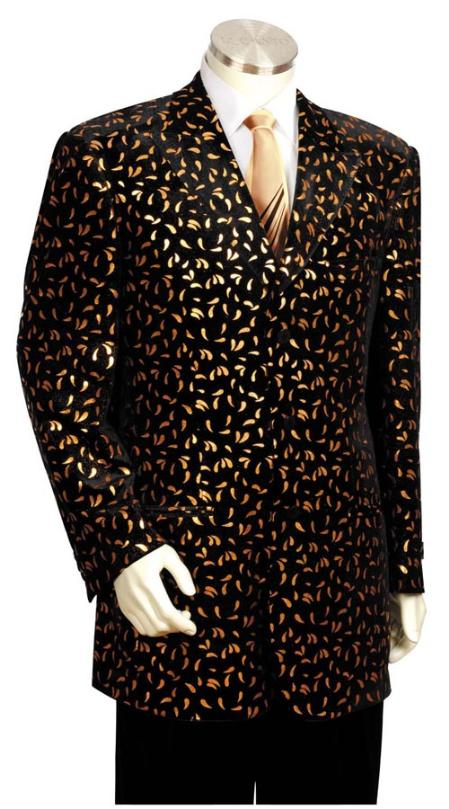 SKU#ED4357 Mens Long Zoot Suit Black/Gold $225