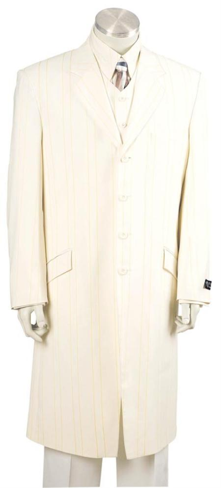 SKU#IL8232 Mens Long Zoot Suit Ivory/Lime $250