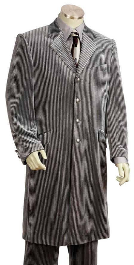 SKU#SL82312 Mens Long Zoot Suit Silver $225
