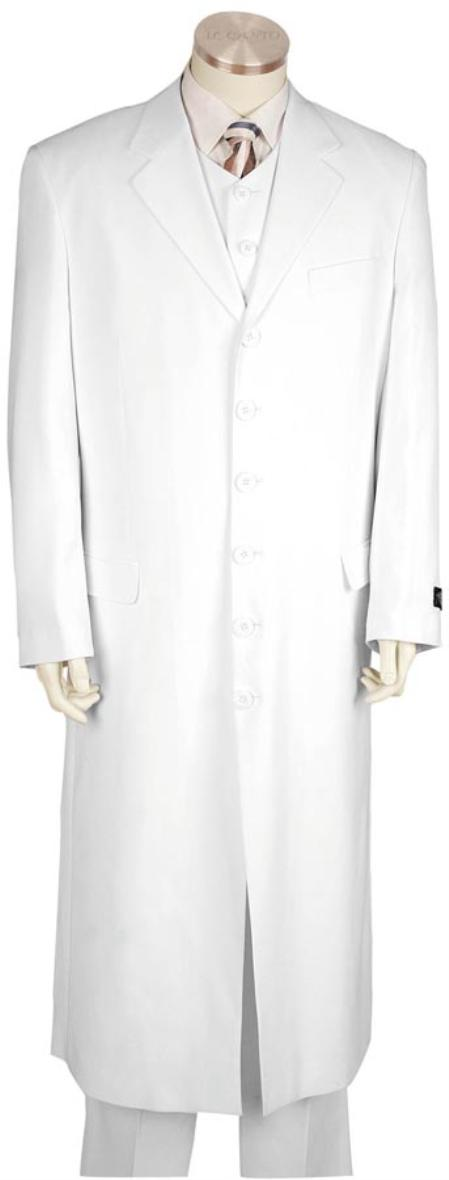 SKU#YH6221 Mens Long Zoot Suit White 45 Long Jacket EXTRA LONG JACKET Maxi Very Long $175