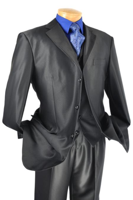 SKU#EX0232 Mens Luxurious 3 Piece High Fashion Suit Black $175