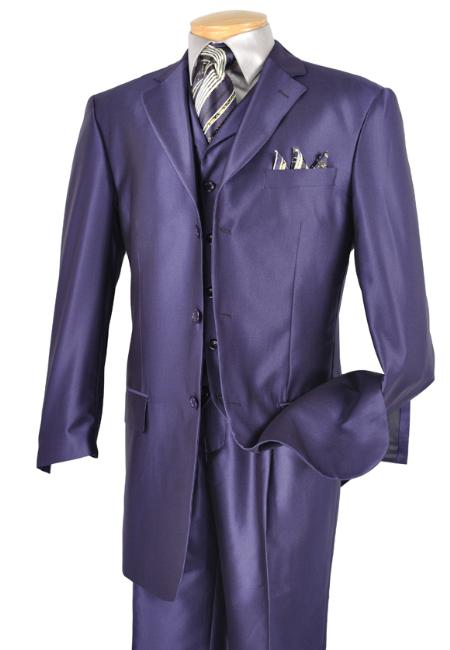 SKU#ZM3122 Mens Luxurious 3 Piece High Fashion Suit Deep Purple $175