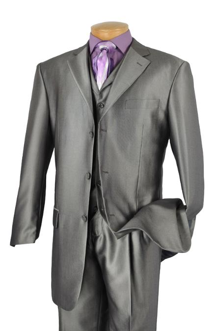 SKU#XA1436 Mens Luxurious 3 Piece High Fashion Suit Gray $175