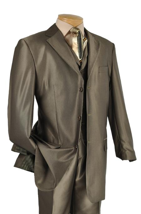 SKU#JX3436 Mens Luxurious 3 Piece High Fashion Suit Olive $175