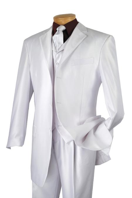 SKU#WQ2811 Mens Luxurious 3 Piece High Fashion Suit White $175