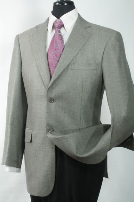 SKU#LW2111 Mens Luxurious Wool and Silk Blazer Grey Shark Skin