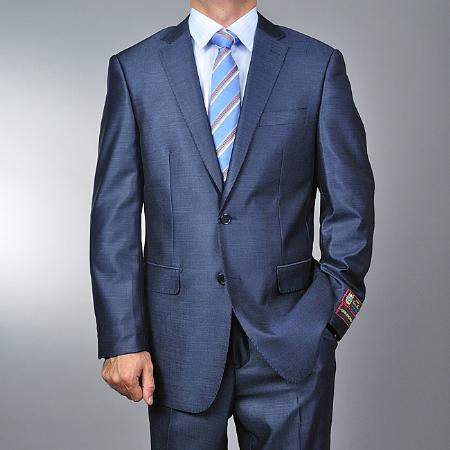 SKU#SA1144 Mens Metallic Blue 2-button Suit