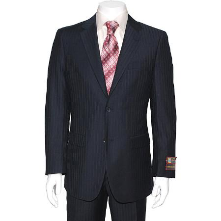 SKU#FY4562 Mens Navy Blue Striped 2-button Suit $139