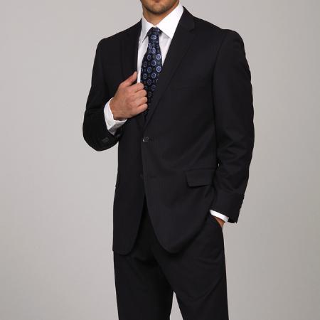 SKU#VB1245 Mens Navy Pinstripe 2-button Suit