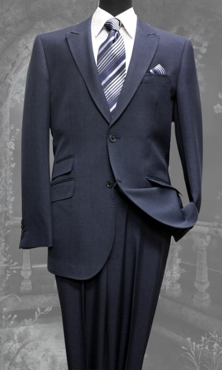 SKU#PF8710 Mens Navy Slim Fit Super 150s 2 Piece Ticket Pocket Peak Lapel Super Fine Wool Feel Poly~Rayon Suit $149